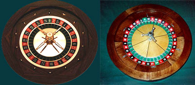 European roulette wheel (L) and the American wheel (R)